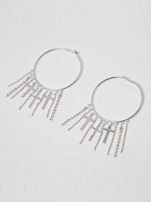 River Island örhängen Silver tone cross tassel hoop earrings