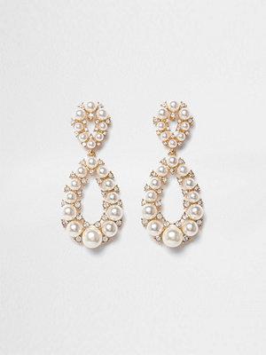 River Island örhängen Gold tone faux pearl teardrop earrings
