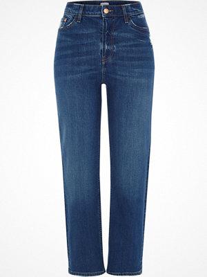 River Island Mid Blue Bella distressed straight leg jeans