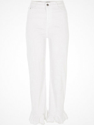 River Island White Bella frill hem straight leg jeans