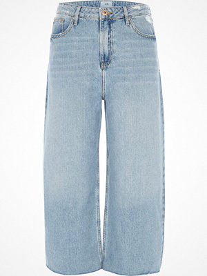 River Island Mid Blue Alexa cropped wide leg jeans