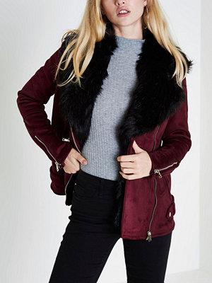 River Island Dark Red fur trim aviator jacket