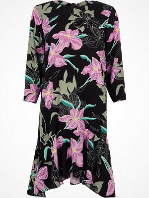 River Island Black floral frill hem tie back swing dress