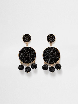 River Island örhängen Black beaded triple ball drop earrings