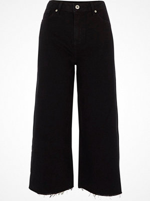 River Island Black Alexa cropped wide leg jeans