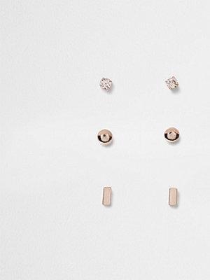 River Island örhängen Rose Gold tone stud earring multipack