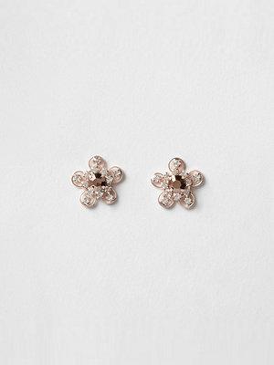 River Island örhängen Rose Gold tone flower diamante stud earrings