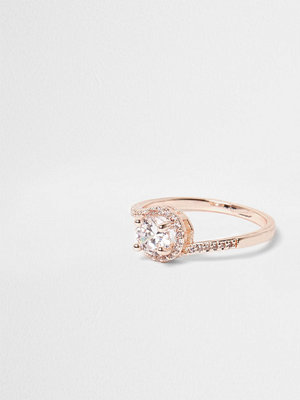 River Island Rose Gold tone diamante pave ring