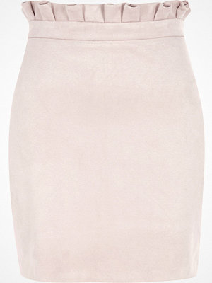 River Island Pink faux suede paperbag mini skirt