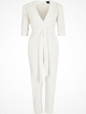 River Island White three quarter sleeve tailored jumpsuit