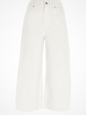 River Island White Alexa cropped wide leg jeans