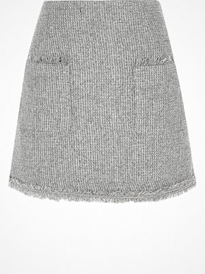 River Island Grey pocket front boucle glitter mini skirt