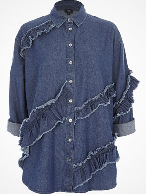 River Island Blue frill denim shirt