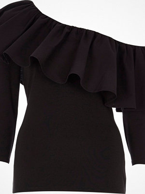 River Island Black one shoulder frill top