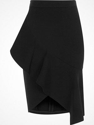 River Island Black asymmetric frill pencil skirt