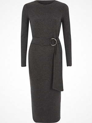 River Island Grey rib ring tie belt midi dress