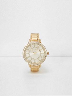 Klockor - River Island Gold tone link strap diamante watch