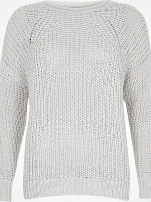 River Island White fisherman rolled crew neck jumper