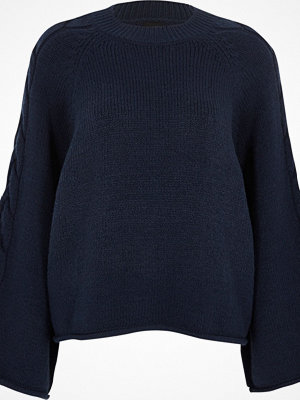 River Island Navy cable knit wide sleeve jumper