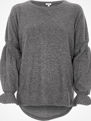 River Island Grey knit shirred sleeve top