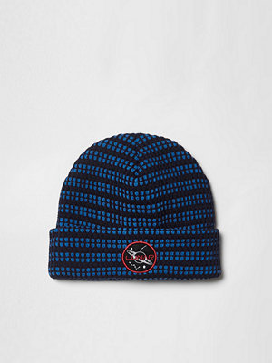 River Island Navy knitted 'lunar' badge beanie hat