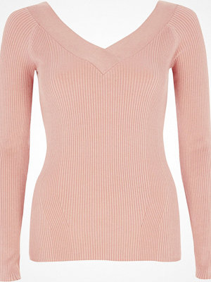 River Island Light Pink ribbed fitted V neck top