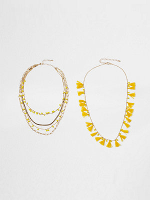 River Island halsband Yellow tassel bead multilayer necklace set