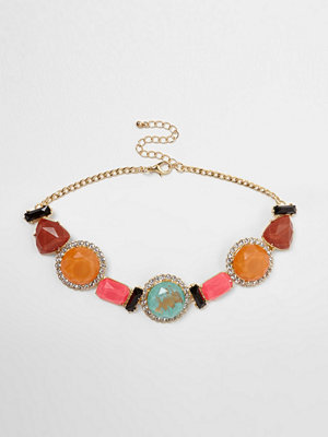 River Island halsband Pink multi colour mixed jewel diamante choker