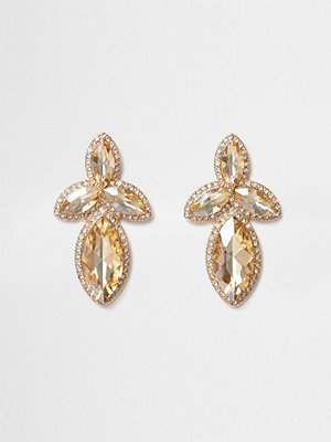 River Island örhängen Gold tone jewel embellished drop earrings