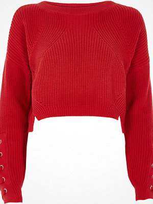 River Island Red lace-up eyelet cropped jumper