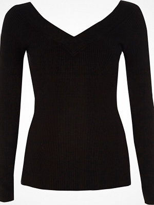 River Island Black V neck long sleeve knitted top