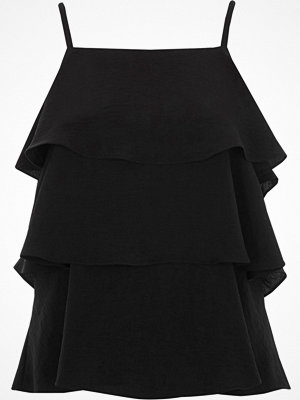 River Island Black tiered frill cami top