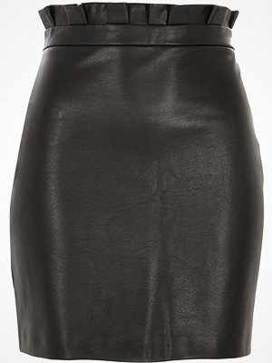 River Island Black paper bag waist faux leather mini skirt
