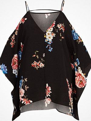 River Island Black floral cold shoulder cape sleeve top