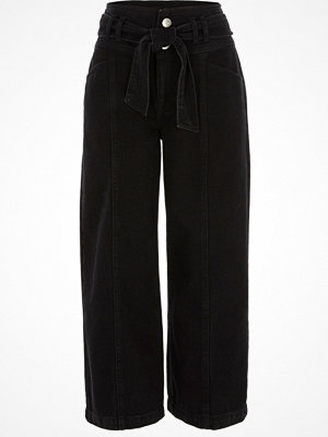 River Island Black belted denim culottes