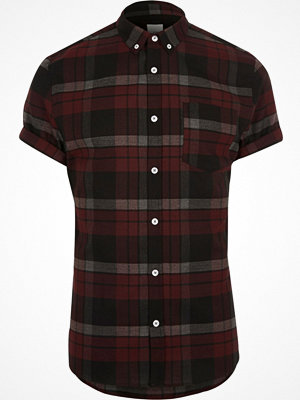 Skjortor - River Island Dark Red check muscle fit short sleeve shirt