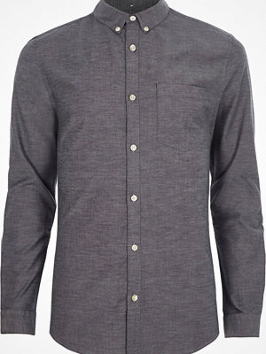 Skjortor - River Island Grey muscle fit long sleeve Oxford shirt