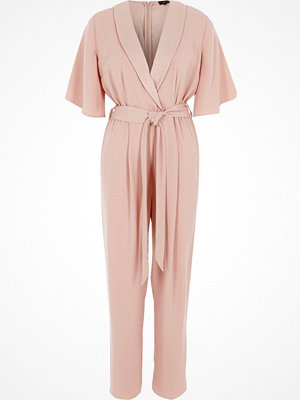 River Island Pink three quarter sleeve tailored jumpsuit