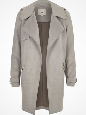 River Island Light Grey faux suede longline trench coat