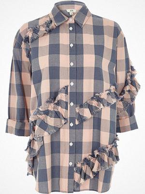 River Island Light Pink and blue check frayed trim shirt