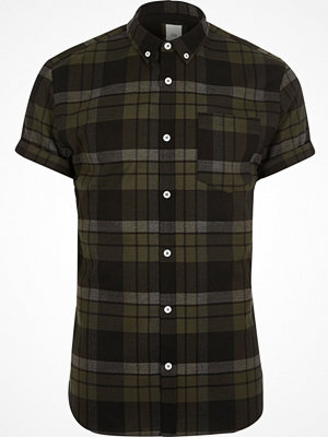 Skjortor - River Island Green check muscle fit short sleeve shirt