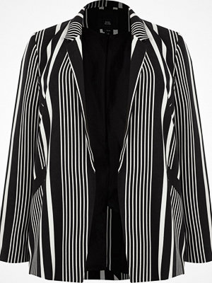 River Island Plus Black stripe shoulder pad blazer