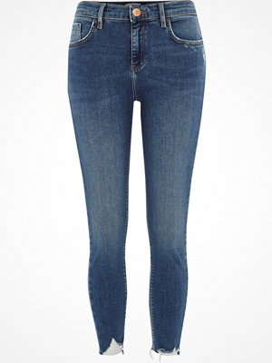 Jeans - River Island Petite Blue Amelie distressed skinny jeans