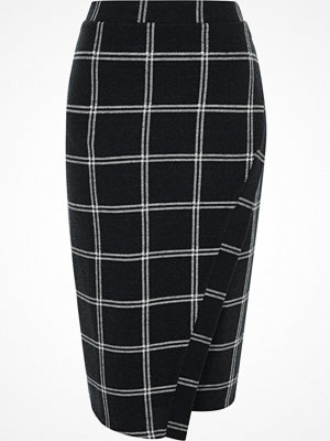 River Island Navy check wrap front pencil skirt