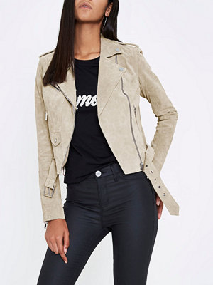 River Island Stone suede biker jacket