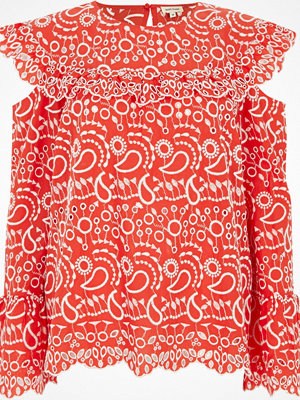 River Island Red broderie frill bib top