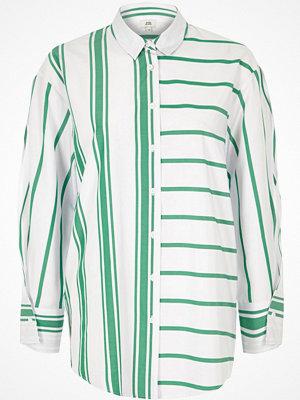 River Island Green stripe print split sleeve shirt
