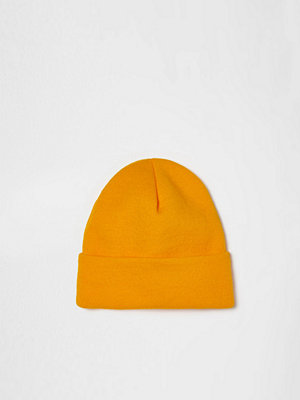 Mössor - River Island Yellow knitted beanie hat