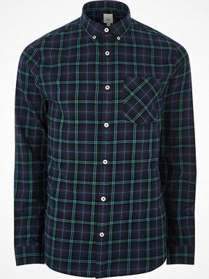 Skjortor - River Island Navy check long sleeve button-down shirt