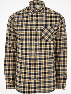 Skjortor - River Island Yellow check long sleeve button-down shirt